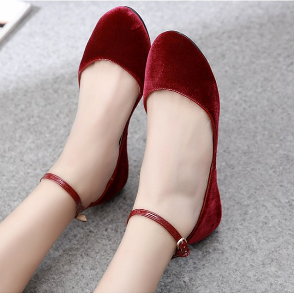 Burgundy Velvet Mary Jane Ballerina Ballet Flats Shoes