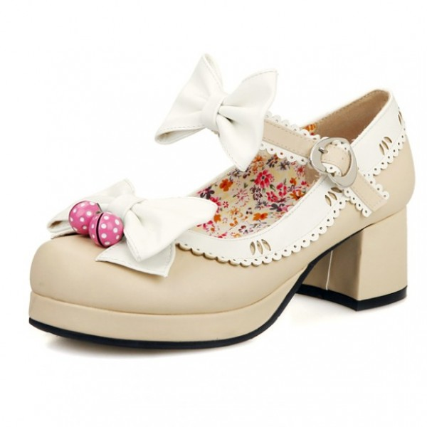 Khaki White Strawberry Bells Bow Lace Trim Lolita Sweet Mary Jane Heels Shoes