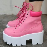 Pink Lace Up Chunky White Sole Block Platforms Boots Shoes