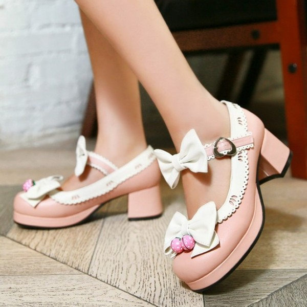 Pink White Strawberry Bells Bow Lace Trim Lolita Sweet Mary Jane Heels Shoes