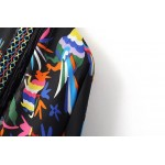 Black Colorful Retro Totem Tassels Embroidery Chiffon Long Kimono Cardigan Outer Wear