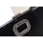 Black Silver Pink Diamonte Buckle Oversized Envelope Clutch Bag Purse