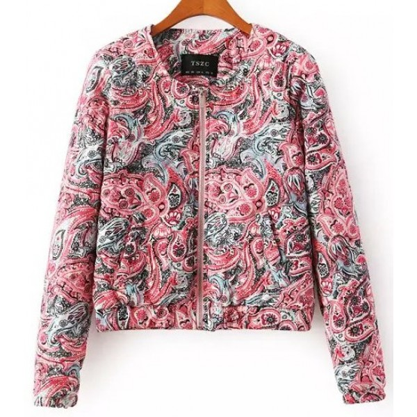Pink Grey Vintage Paisleys Quilted Baseball Aviator Bomber Rider Jacket