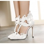 White Satin Flowers Leaves Rhinestones Point Head Bridal Evening High Stiletto Heels Shoes