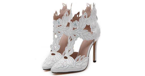 White satin flowers leaves rhinestones point head bridal evening white satin flowers leaves rhinestones point head bridal evening high stiletto heels shoes mightylinksfo
