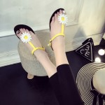 White Yellow Flower T Strap Summer Beach Bohemian Flip Flops Sling Back Flats Sandals