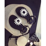 Black White Flower T Strap Summer Beach Bohemian Flip Flops Sling Back Flats Sandals