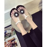 White Black Flower T Strap Summer Beach Bohemian Flip Flops Sling Back Flats Sandals