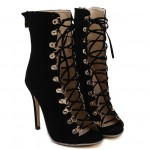 Black Suede Lace Up Gladiator Sneakers High Top High Stiletto Heels Sandals Shoes