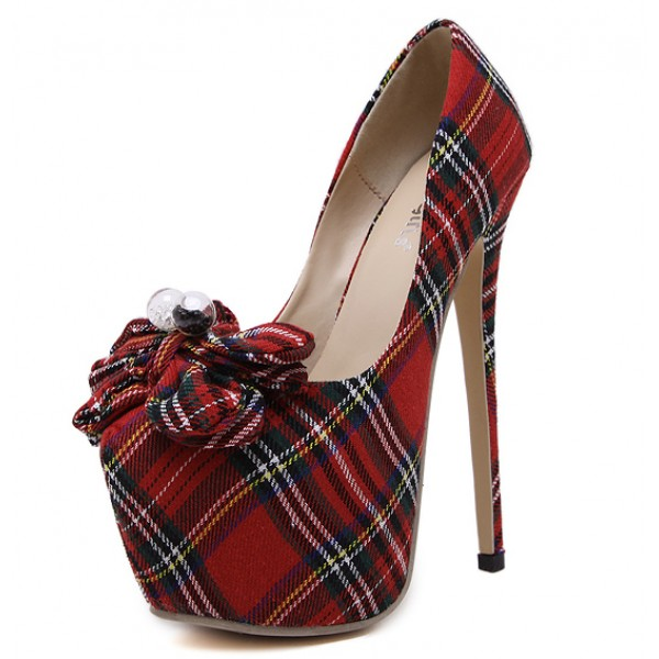 Red Tartan Scotland Plaid Checks Bow Platforms Stiletto High Heels Shoes