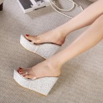 White Pearly Glitter Bling Bling Transparent Platforms Wedges Sandals Bridal Shoes
