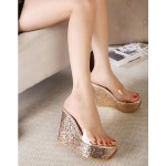 Gold Glitter Bling Bling Transparent Platforms Wedges Sandals Bridal Shoes