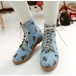 Blue Cats Lace Up High Top Military Combat Rider Boots