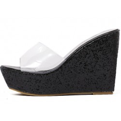 Black Glitter Bling Bling Transparent Platforms Wedges Sandals Bridal Shoes