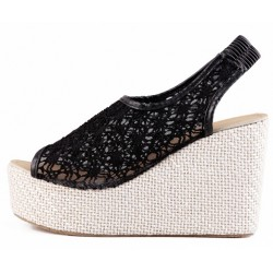 Black Lace Crochet Peeptoe Slingback Wedges Platforms Sandals Shoes