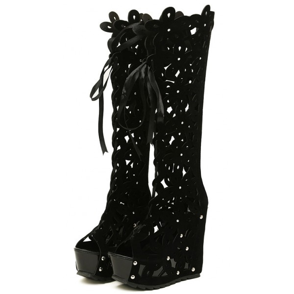Black Suede Florals Flowers Hollow Out Lace Up Platforms Wedges Knee Boots