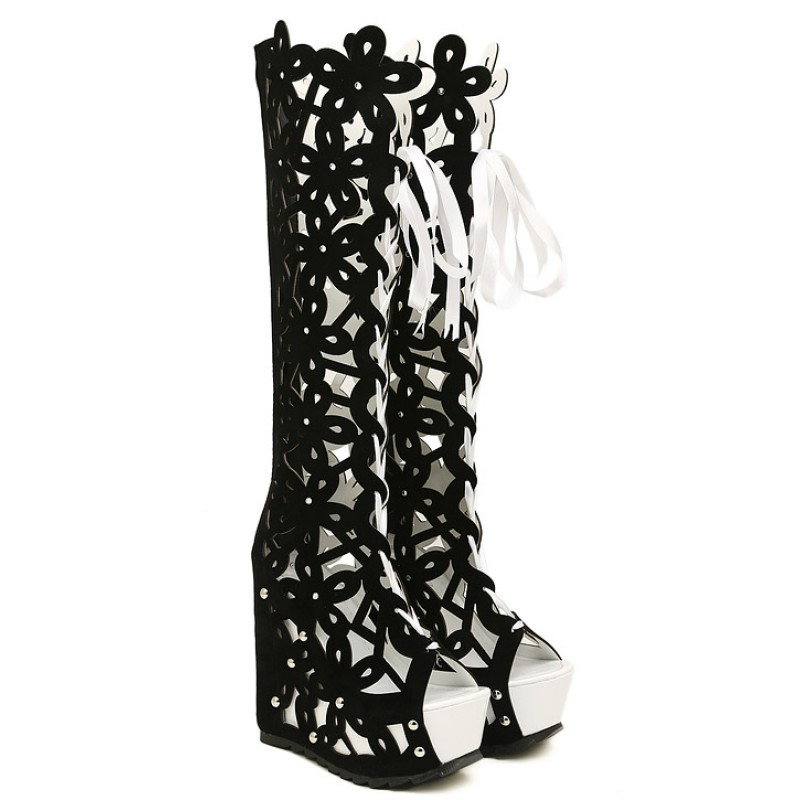 Black white suede florals flowers hollow out lace up platforms black white suede florals flowers hollow out lace up platforms wedges knee boots mightylinksfo