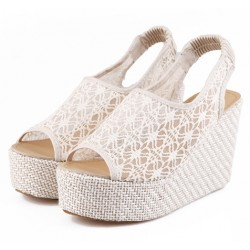 Cream Lace Crochet Peeptoe Slingback Wedges Platforms Sandals Shoes