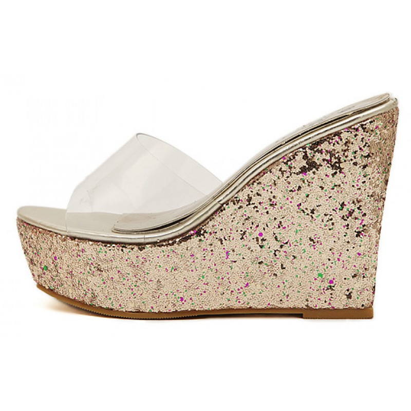 f6ac9d792e240 Gold Glitter Bling Bling Transparent Platforms Wedges Sandals Bridal Shoes