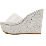 Silver Glitter Bling Bling Transparent Platforms Wedges Sandals Bridal Shoes