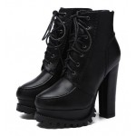 Black Platforms Combat Military Lace Up Ankle Boots Shoes