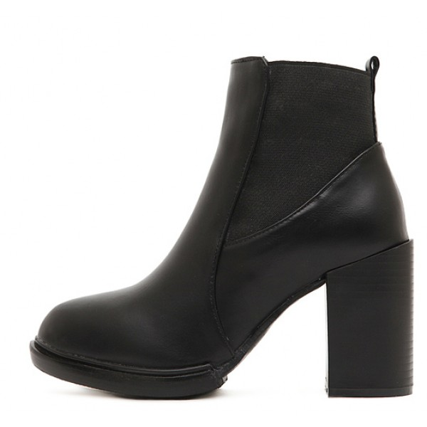 Black Platforms Point Head Block High Heels Ankle Boots Shoes