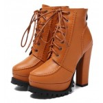 Orange Brown Platforms Combat Military Lace Up Ankle Boots Shoes