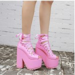 Pink Ballerina Ribbon Lace Up Punk Rock Gothic Platforms Wedges Boots Shoes