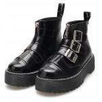 Black Buckles Zippers Punk Rock Gothic Platforms High Top Military Combat Rider Boots