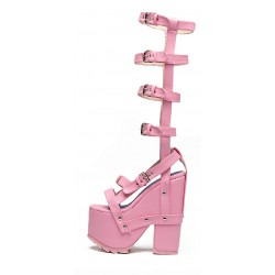 Pink Straps Gladiator Knee Punk Rock Gothic Creeper Platforms Wedges Sandals Shoes