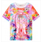 Pink Rainbow Galaxy Harajuku Weird Creeper Fcuk U Middle Finger Short Sleeves T Shirt