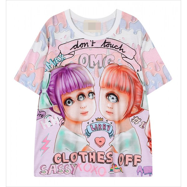 Pink Rainbow Galaxy Harajuku Weird Creeper OMG  Sassy Girls Short Sleeves T Shirt