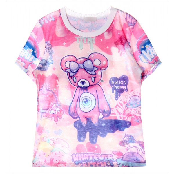 Pink Rainbow Galaxy Harajuku Weird Creeper Sad Teddy Bear Whatever Short Sleeves T Shirt