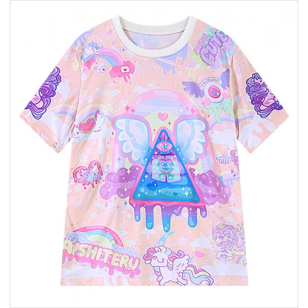Pink Rainbow Galaxy Harajuku Weird Creeper Unicorn Triangle Short Sleeves T Shirt