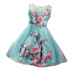 Blue Sleeveless Organza Short Prom Flower Embroidery Wedding Cocktail Party Dress