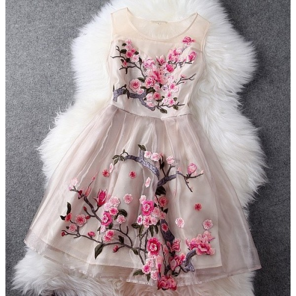 Pink Sleeveless Organza Short Prom Flower Embroidery Wedding Cocktail Party Dress
