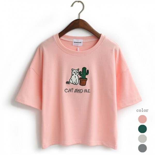 Cropped Mid Sleeves Harajuku Cat and Me Embroidery T Shirt