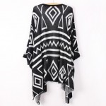 Black White Blue Tribal Enthic Pattern Long Sleeves Batwing Cardigan
