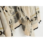 Khaki Tribal Enthic Pattern Fringes Long Sleeves Batwing Cardigan Outer Coat