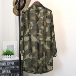 Green Camouflage Military Army Long Sleeves Chiffon Cardigan Outer Shirt Blouse