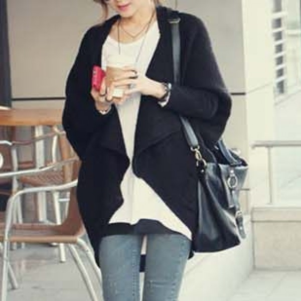 Black Long Sleeves Batwing Cardigan Outer Coat Jacket