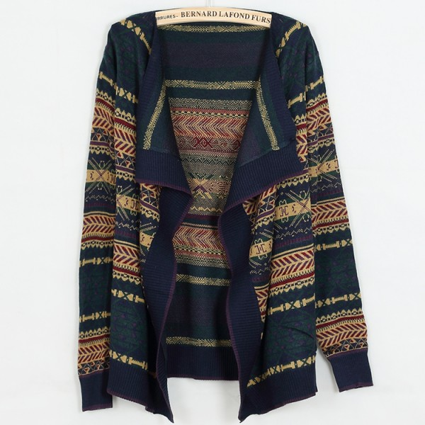 Blue Navy Tribal Enthic Pattern Long Sleeves Batwing Cardigan Outer Coat