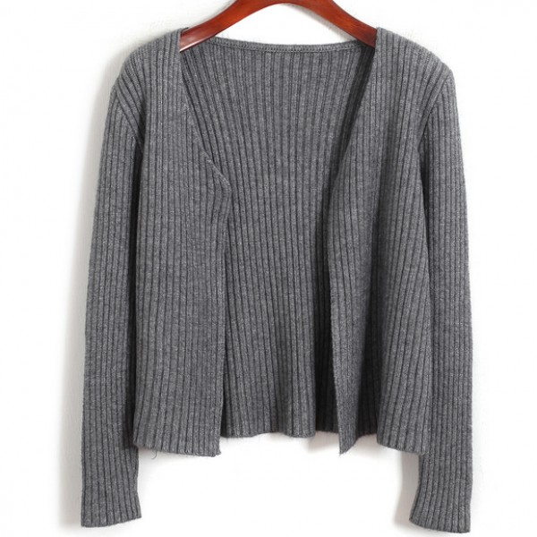 Grey Knitted Long Sleeves Cropped Cardigan Outer Jacket