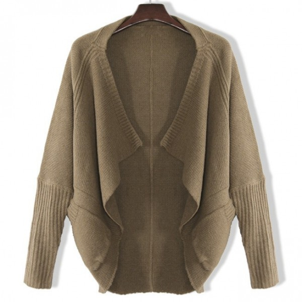 Khaki Brown Long Sleeves Batwing Cardigan Outer Coat