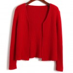 Red Knitted Long Sleeves Cropped Cardigan Outer Jacket