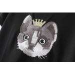 Black Cat in Crown Short Sleeves Embroidery T Shirt