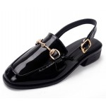 Black Patent Leather Oxfords Metal Chain Sling Back Flats Sandals Shoes
