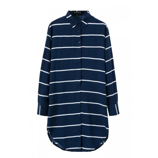 Navy Blue Stripes Vintage Retro Cotton Long Sleeves Blouse Shirt
