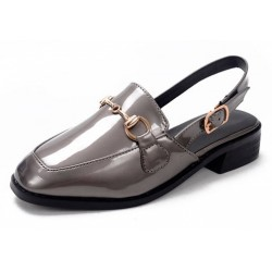 Silver Grey Patent Leather Oxfords Metal Chain Sling Back Flats Sandals Shoes