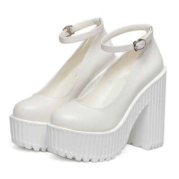 White Mary Jane Round Head Ankle Straps Lolita Punk Rock Platforms High Heels Shoes